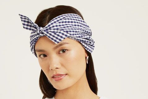 Frederica Moretti Gingham-Print Cotton Headband