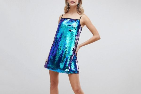 Boohoo Mini Sequin Cami Dress in Teal