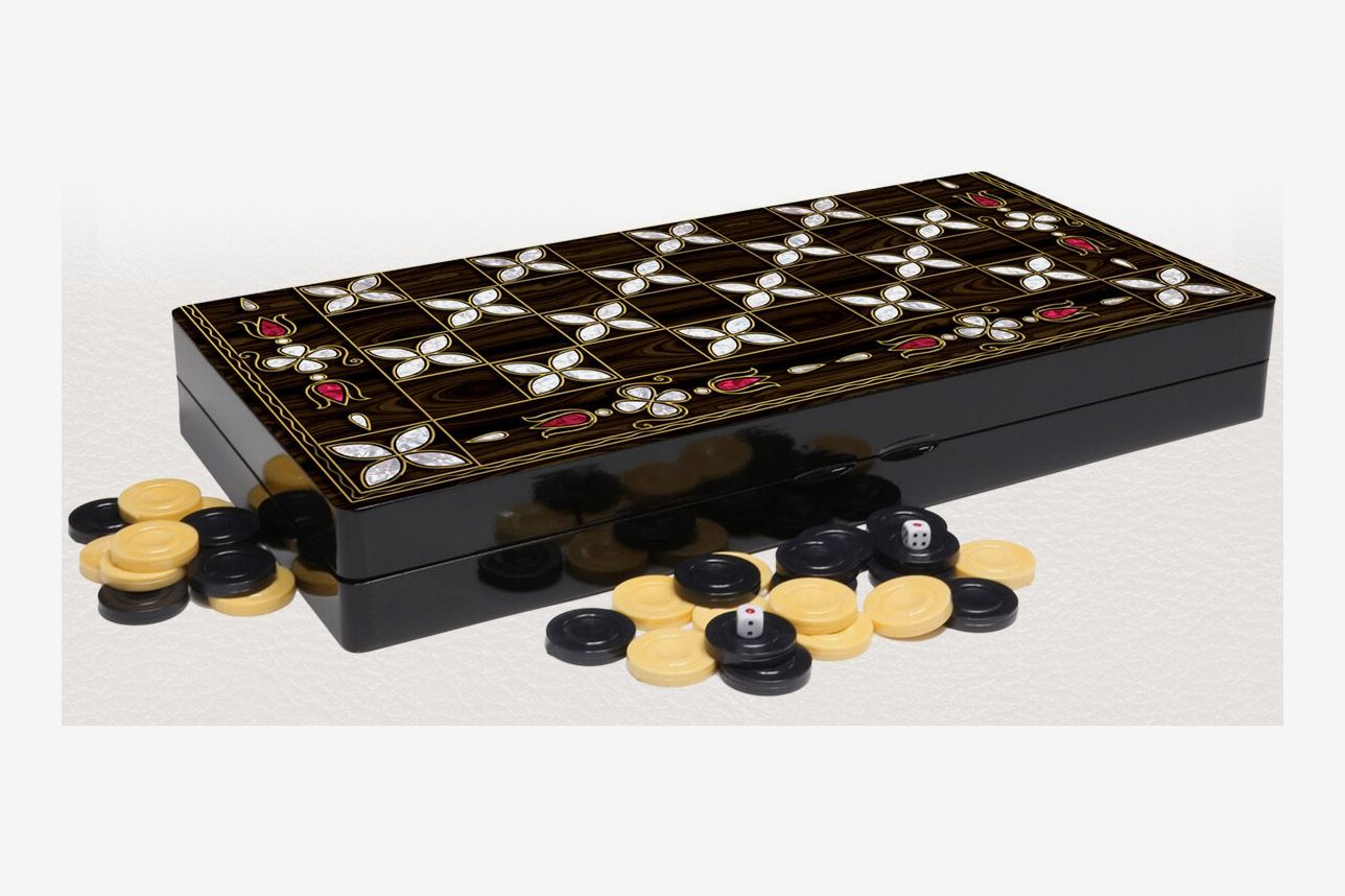 "Yenigun 19"" Floral Mother of Pearl Wood Backgammon Set"