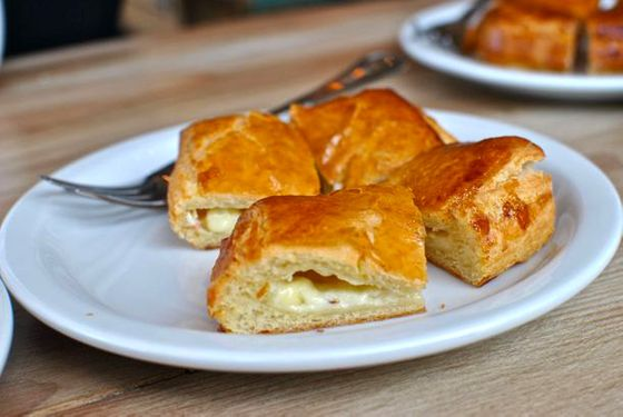 Rajas con queso in croissant dough.