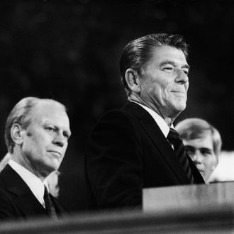 Reagan Speaks Beside Gerald Ford