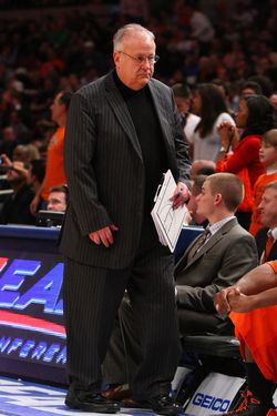 NEW YORK - MARCH 12:  Assistant coach Bernie Fine of the Syracuse Orange looks on from the sidelines during their game against the Connecticut Huskies during the quarterfinals of the Big East Tournament at Madison Square Garden on March 12, 2009 in New York City.  (Photo by Jim McIsaac/Getty Images) *** Local Caption *** Bernie Fine