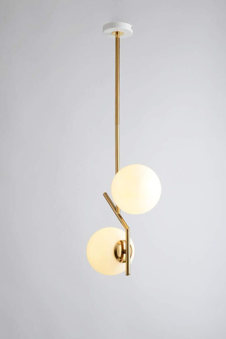 BOKT Mid-Century-Modern Gold Two-Light Chandelier With White Frosted-Glass Globes