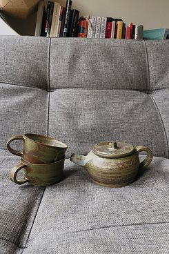 Mixed Olive Teapot and Mugs