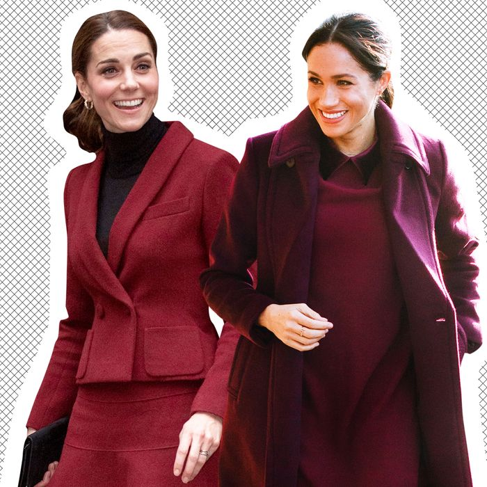 Kate Middleton and Meghan Markle in matching outfits.