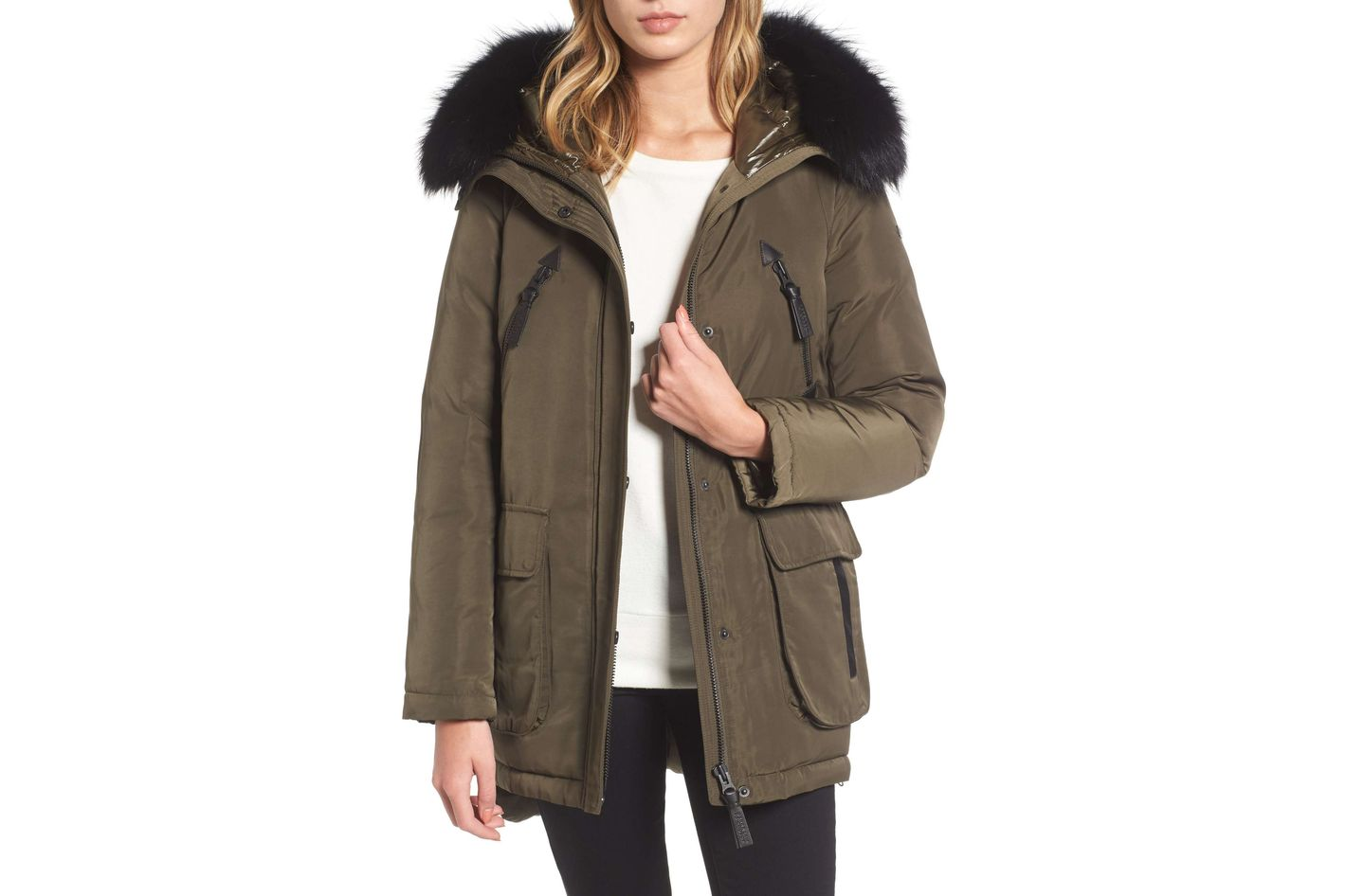 Derek Lam 10 Crosby Down Parka With Genuine Fox Fur