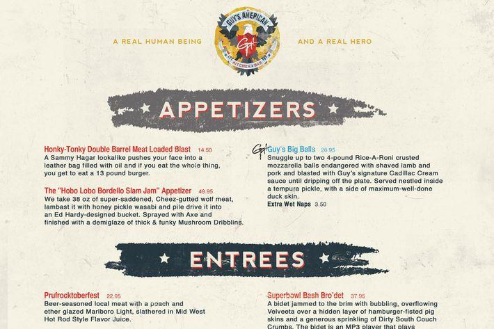 Guys American Kitchen And Bar Fake Menu