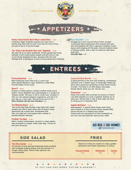 Guys American Kitchen And Bar Fake Menu