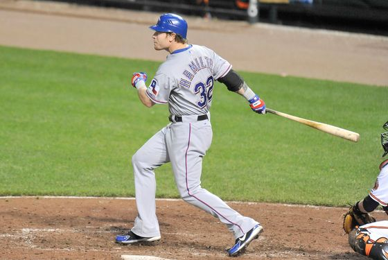 BALTIMORE, MD - MAY 8:  Josh Hamilton #10 of the Texas Rangers hits a home run in the ninth inning during a baseball game against the Baltimore Orioles at Oriole Park at Camden Yards on May 8, 2012 in Baltimore, Maryland. Hamilton hit four home runs during the game to become the 16th player in MLB history to make the accomplishment. (Photo by Mitchell Layton/Getty Images)