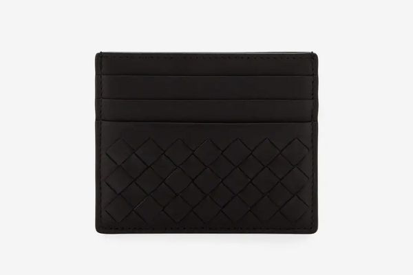Bottega Veneta Woven Leather Card Case (Black)