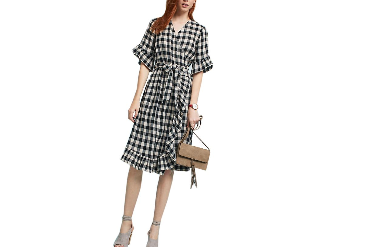 Isabella Sinclair Gingham Flutter Wrap Dress