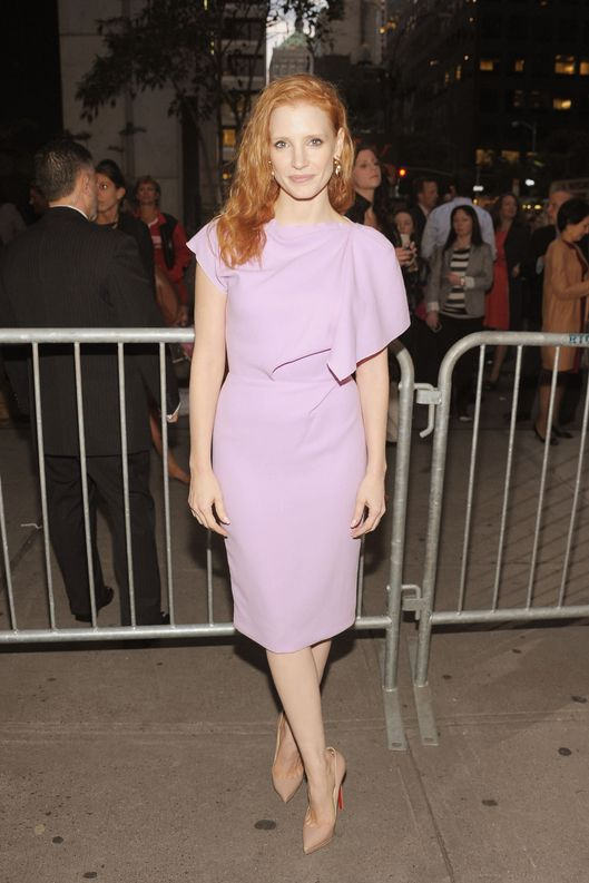 "NEW YORK, NY - SEPTEMBER 20:  Actress Jessica Chastain attends the ""If There Is I Haven't Found It"" Broadway opening night at Laura Pels Theatre on September 20, 2012 in New York City.  (Photo by Michael Loccisano/Getty Images)"