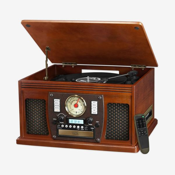 Victrola Nostalgic Aviator Wood 8-in-1 Bluetooth Turntable Entertainment Center, Mahogany