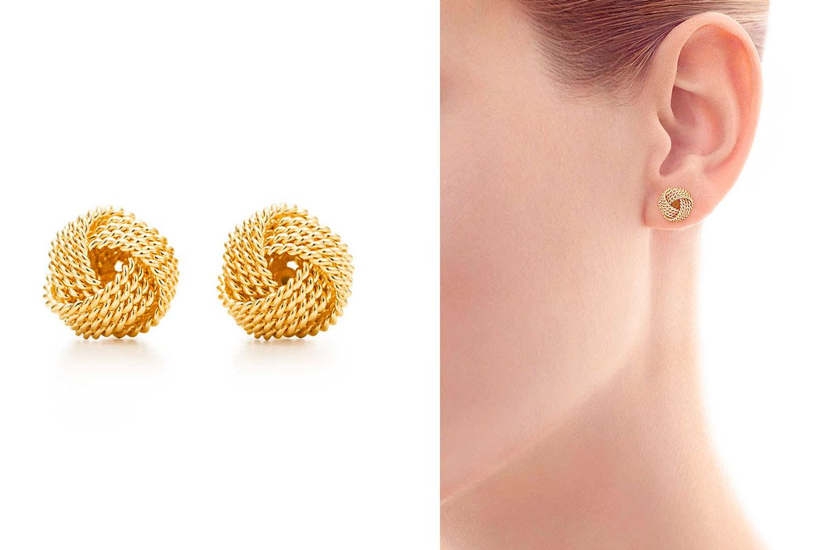 Tiffany Twist-Knot Earrings in Gold