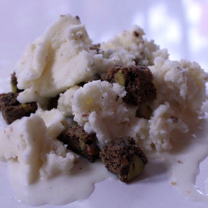 Here's Ivan Ramen's salted-yuzu ice cream with scooped-in buckwheat cookies.