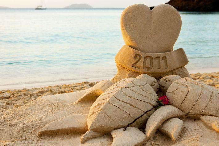 True love in sand.