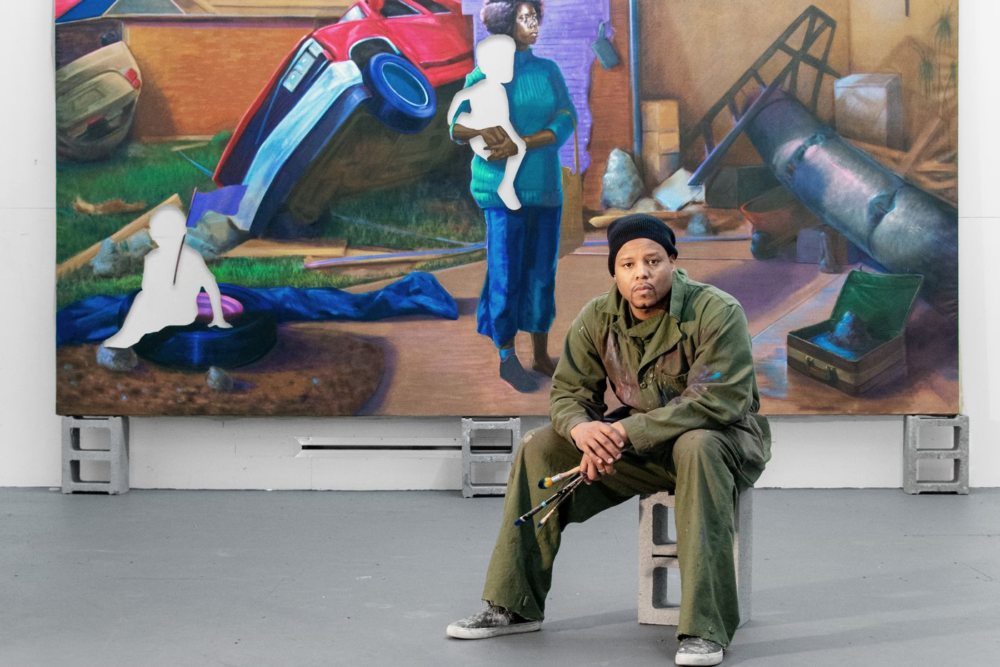 Titus Kaphar in his studio with his painting The Aftermath (2020), New Haven, Connecticut, 2020. Photo: Artwork © Titus Kaphar. Photo: John Lucas. Courtesy Gagosian.