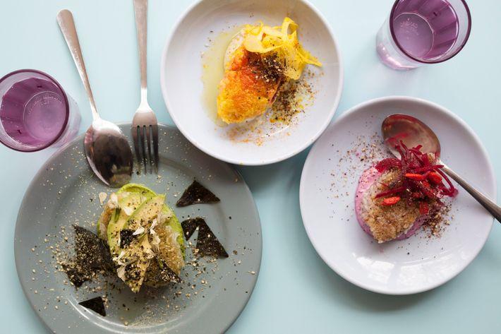 Onigiris: salmon-tumeric, red-chiso pickled plum, and matcha wasabi.