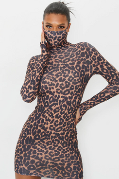 PrettyLittleThing Tan Leopard-Print Long-Sleeved Mask Body-con Dress