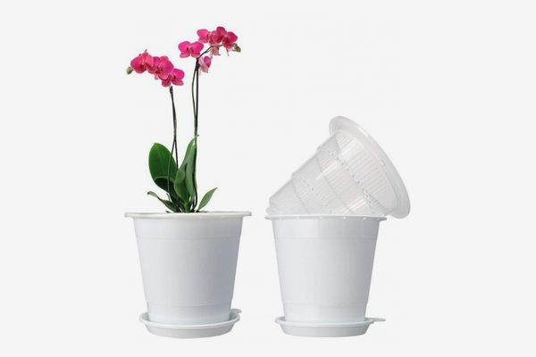 "Mkono Plastic Orchid Pots with Vented Liners and Drainage Trays, 5.3"" - 2 Sets (White)"
