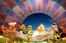 """THE MUPPETS"" - RIGHT WHERE WE BELONG – With banjo-strumming Kermit at the center of the action, the Muppets – (l to r: Scooter, Swedish Chef, Fozzie Bear, Kermit, Miss Piggy {of course!}, Sam Eagle, Beauregard and Link Hogthrob) – are ready to play the music, light the lights and get things started in THE MUPPETS (Opening in theatres on November 23rd)."