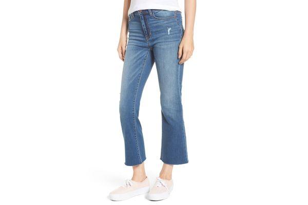 SP Black Raw Edge Crop Flare Jeans