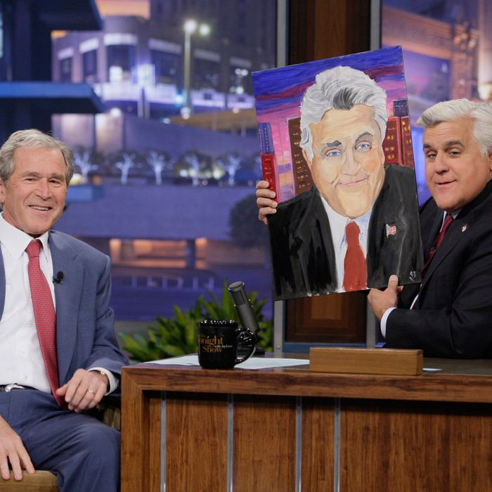 Former President George W. Bush during an interview with host Jay Leno on November 19, 2013