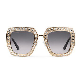 Oversize Square-Frame Metal Sunglasses