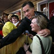 MOBILE, AL - MARCH 12:  Republican presidential candidate, former Massachusetts Gov. Mitt Romney greets supporters during a campaign stop at the Whistle Stop cafe March 12, 2012 in Mobile, Alabama. Alabama and Mississippi hold their primaries tomorrow.  (Photo by Win McNamee/Getty Images)