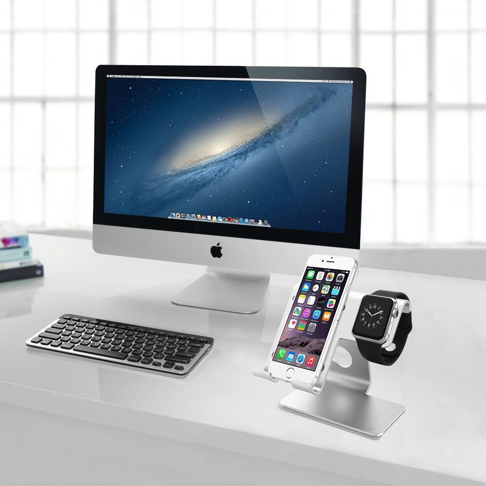 ZVE Universal 2 in 1 Aluminum Desktop Charging Stand for iWatch, Smartphone and Tablets