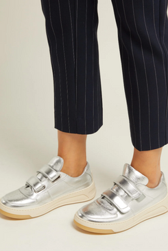 womens acne studios silver low top leather velcro trainers - strategist fashion summer sale