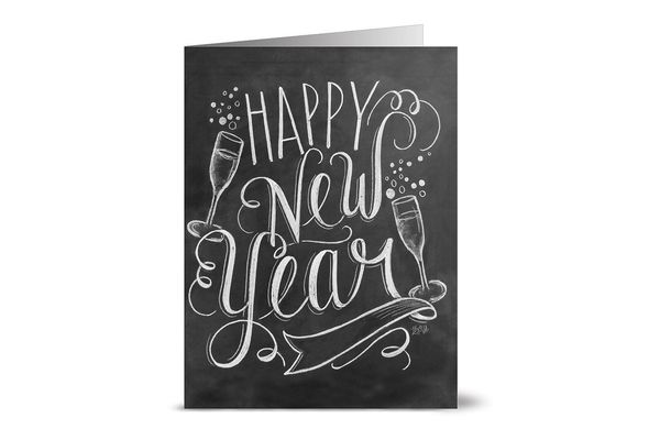 24 Chalkboard Note Cards — Bubbly Happy New Year