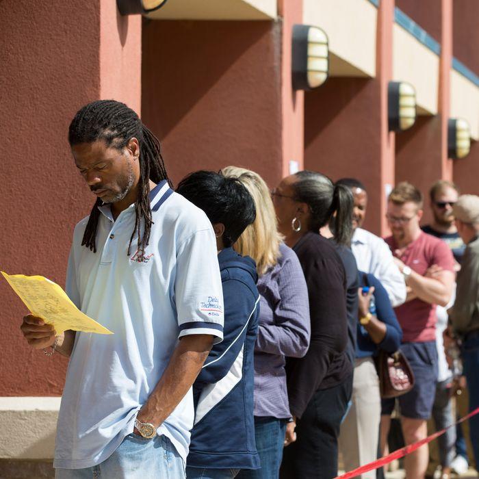 Georgians wait in line to vote.
