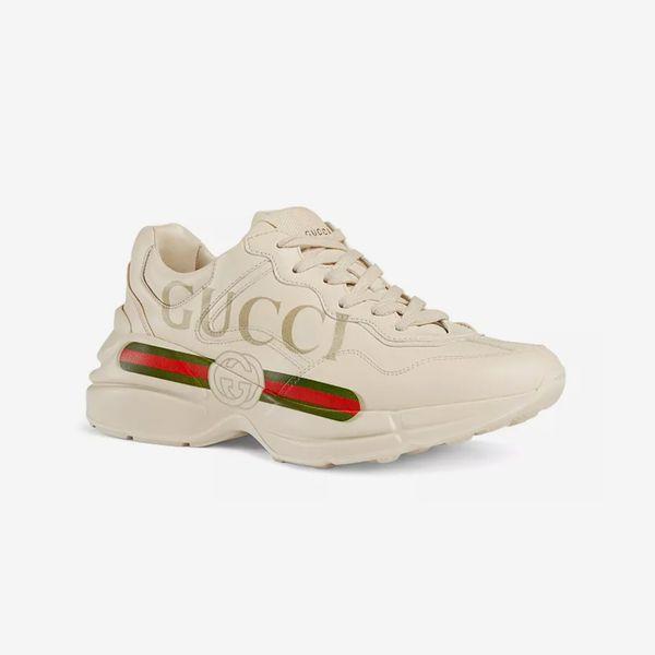 Gucci Women's Rhyton Leather Logo Sneakers