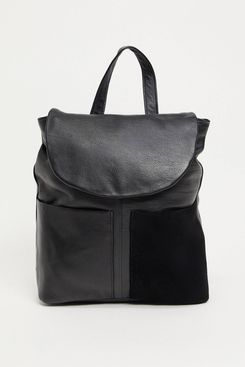 Urbancode Leather Two Pocket Backpack in Black