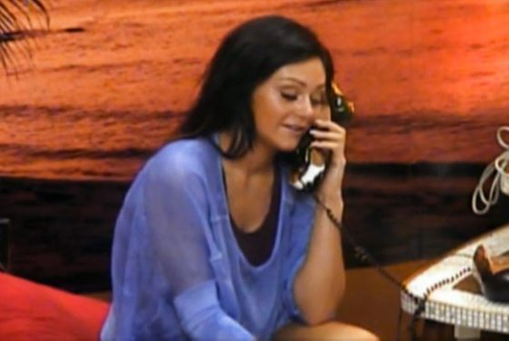 JWOWW hasn't been getting much airtime in these recaps because she looks so inoffensive and, therefore, provokes fewer of my thoughts, which are running low at the end of the day on a Friday anyway. But! She should be celebrated for the general comparative decency of her outfits, like this one. The blue periwinkle sheer top is something you could actually wear.