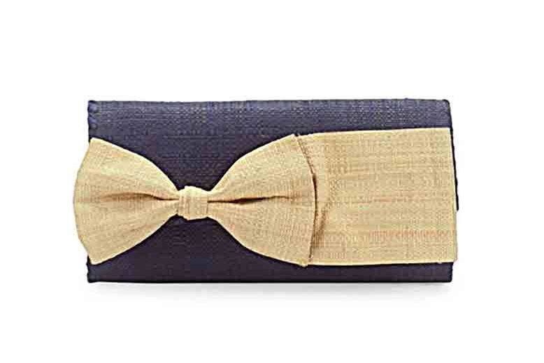 Mar Y Sol Eloise Bow-Accented Woven Clutch
