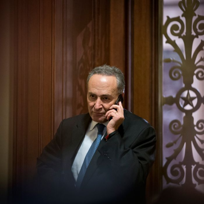 Sen. Charles Schumer, D-N.Y., third ranking in the Senate Democratic leadership, speaks on his cell phone following a closed-door caucus discussing how to avoid the