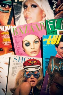 Vintage magazine covers from Gallager's collection.