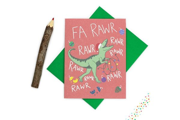 Turtle's Soup Christmas Card T-Rex Carols
