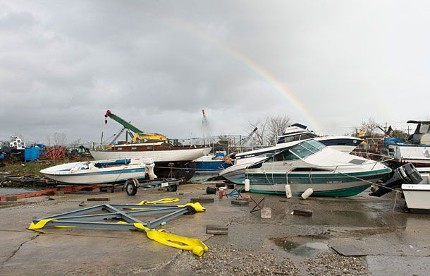 Boats rest on the ground after floating from their stands at dry dock on City Island , in New York October 30, 2012 following Hurricane Sandy's impact. US President Obama declared New York a disaster area The death toll from superstorm Sandy has risen to 16 in the mainland United States and Canada, and was expected to climb further as several people were still missing, officials said Tuesday. AFP PHOTO/DON EMMERT        (Photo credit should read DON EMMERT/AFP/Getty Images)