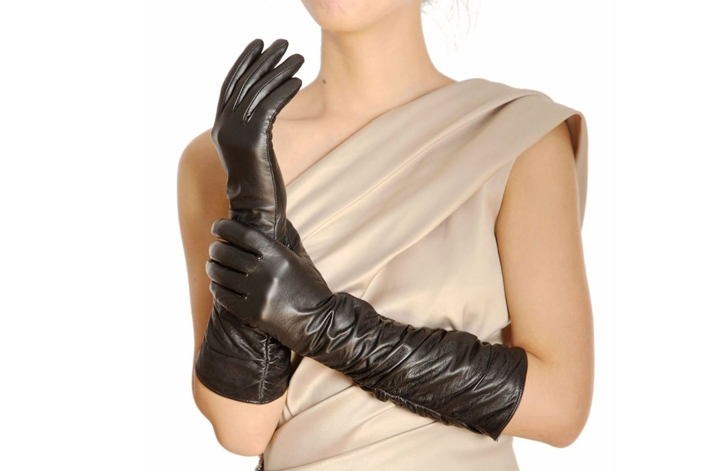 Waren Women's Ruched Elbow Length Gloves