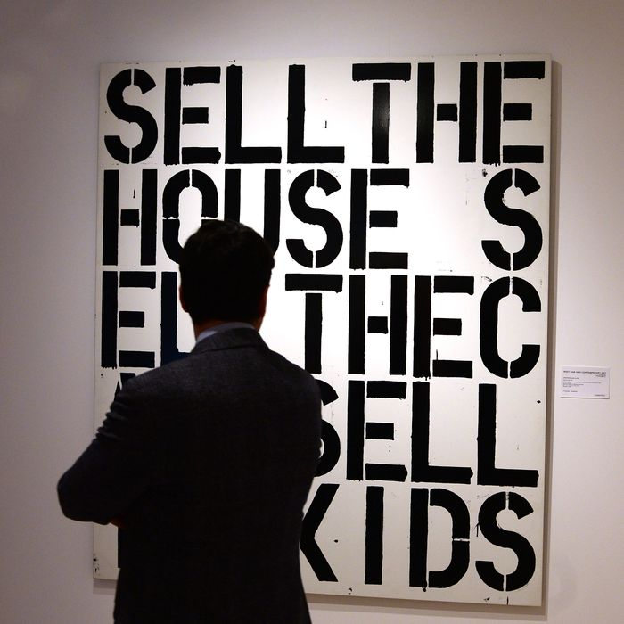 A Christopher Wool artwork is displayed at Christie's