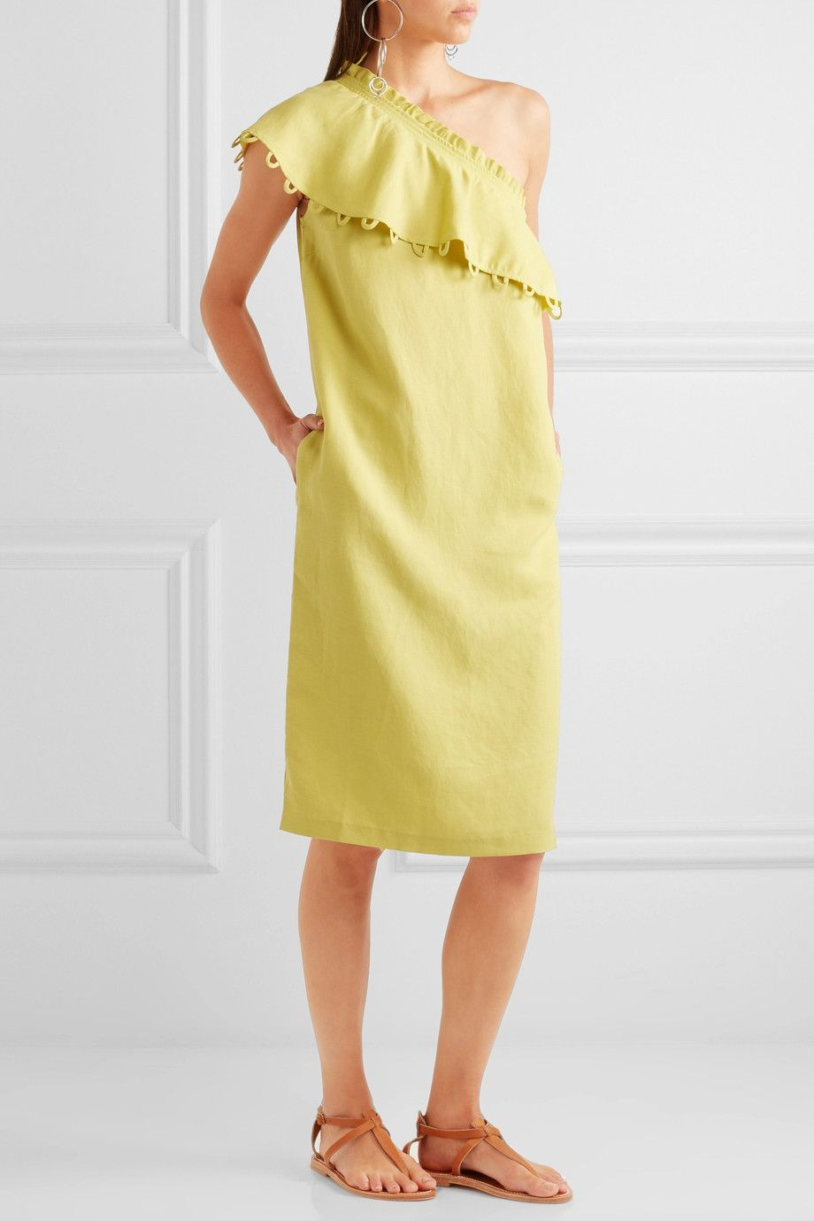 Apiece Apart Reina ruffled one-shoulder midi dress