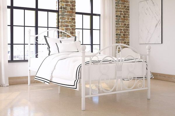 DHP Bombay Metal Bed Frame, Twin Size, White