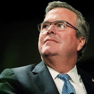 WOODBURY, NEW YORK - FEBRUARY 24: Former Florida Gov. Jeb Bush speaks during a Long Island Association luncheon with LIA President and CEO Kevin S. Law at the Crest Hollow Country Club on February 24, 2014 in Woodbury, New York. Bush is widely seen as a possible presidential contender in 2016. (Photo by Andy Jacobsohn/Getty Images)