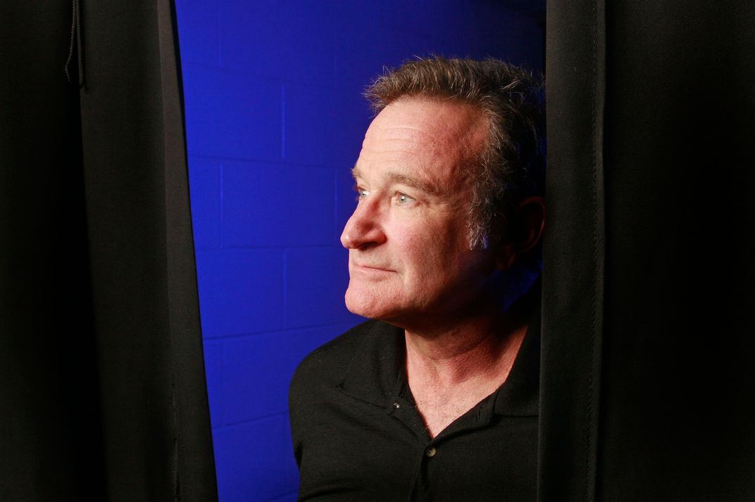 NORFOLK, VIRGINIA - OCTOBER 26:   Robin Williams photographed backstage before his performance at the Ted Constant Convocation Center during a 30-city tour October, 26, 2009 in Norfolk, Virginia.  (Photo by Jay Paul/Getty Images)