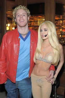 Parker and his fiancée, Alexandra Lenas, dressed as Justin Timberlake (who played Parker in <i>The Social Network</i>) and Britney Spears, for a costume party.