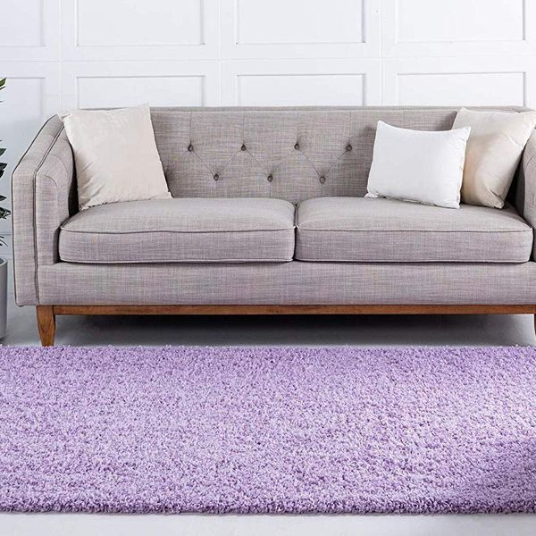 Unique Loom Solo Solid Shag Area Rug, Lilac, 6x9