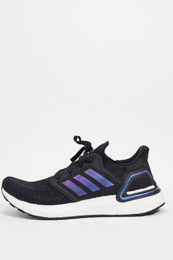 adidas Ultraboost 20 trainers in black boost blue violet & white